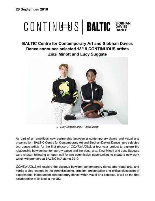CONTINUOUS: BALTIC and Siobhan Davies Dance announce selected artists