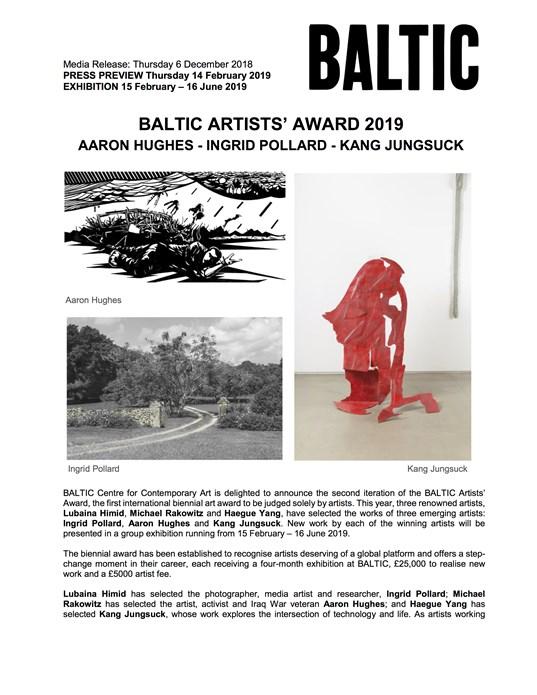 BALTIC Artists' Award 2019: Press Release