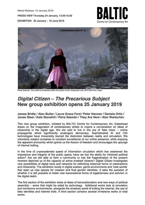 Digital Citizen – The Precarious Subject: Press Release