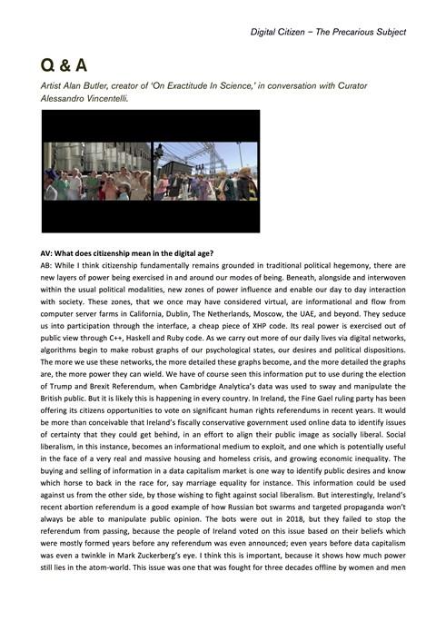 Digital Citizen – The Precarious Subject: Q & A: Alan Butler