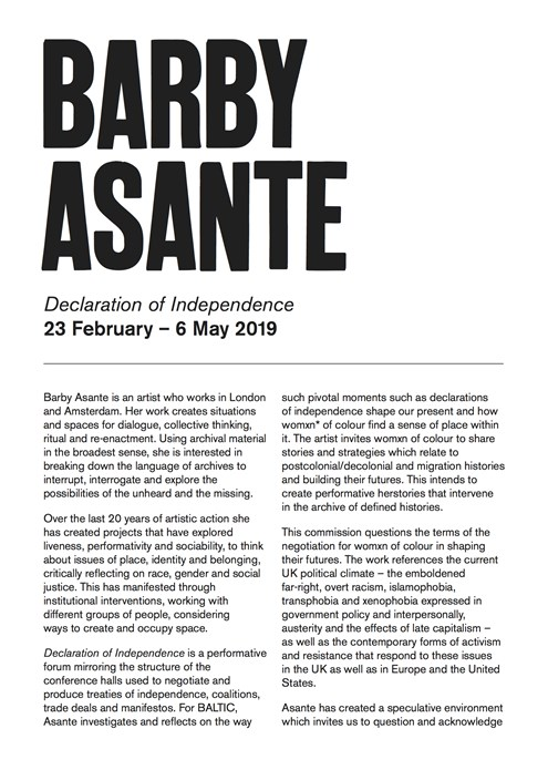 Barby Asante: Declaration of Independence: Interpretation Guide