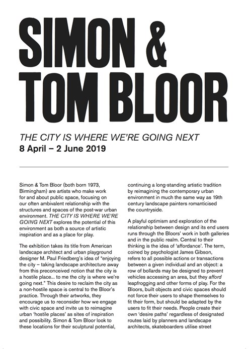 Simon & Tom Bloor: THE CITY IS WHERE WE'RE GOING NEXT: Interpretation Guide