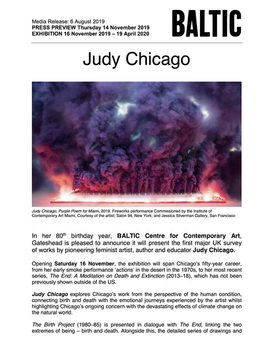 Judy Chicago: Press Release