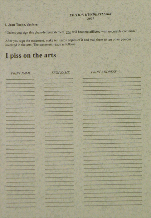 Jean Toche: I piss on the arts