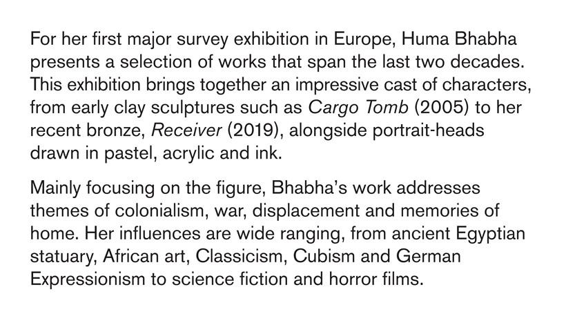 Huma Bhabha: Against Time: Text Panel