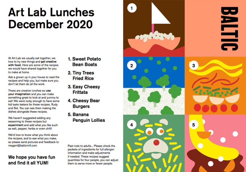 Art Lab Lunches: December 2020 Recipe Card Set