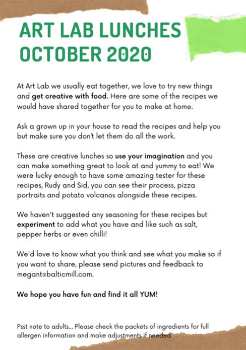 Art Lab Recipe Cards: October 2020