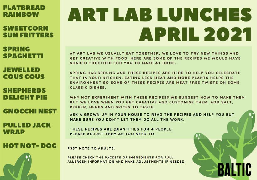 Art Lab Recipe Cards: April 2021