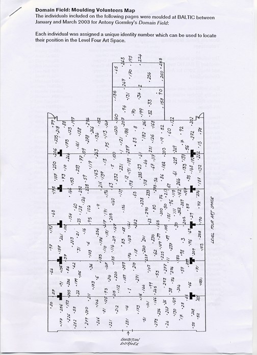 Antony Gormley: Domain Field: Level 4 map of sculpture positions