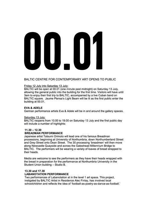 BALTIC Opening Press Release: 00.01