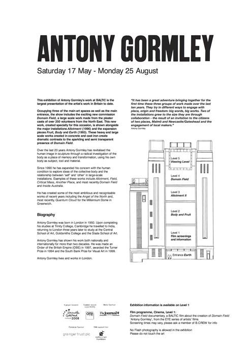 Antony Gormley: Domain Field, Allotment, Body, Fruit, Earth: A1 information panels