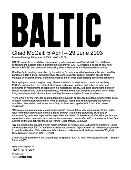 Chad McCail: Press Release