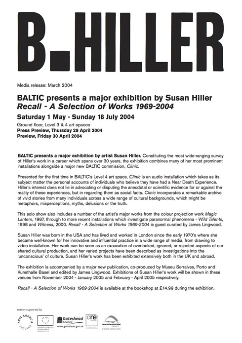 Susan Hiller: Recall 1969-2004: Press Release: March 2004