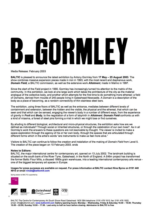 Antony Gormley: B.Gormley: Press Release February 2003