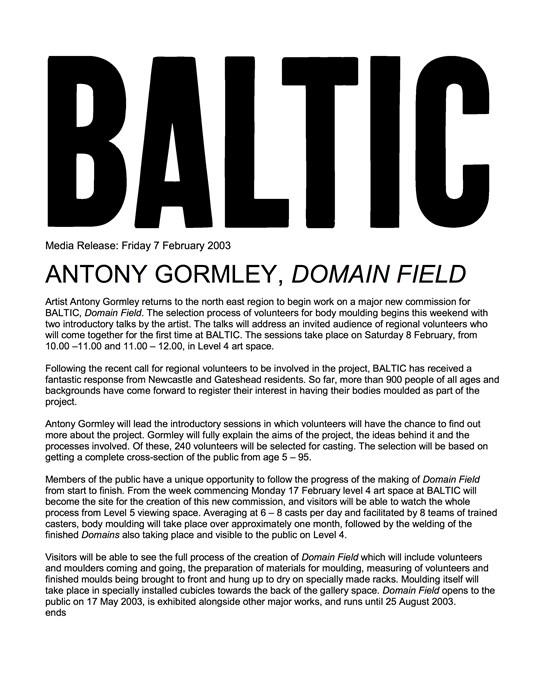 Antony Gormley: Domain Field: Press Release