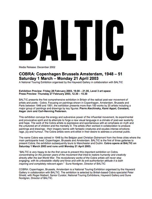 COBRA: Press Release