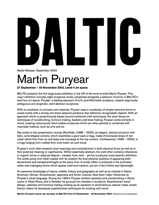 Martin Puryear: New Works: BALTIC Press Release