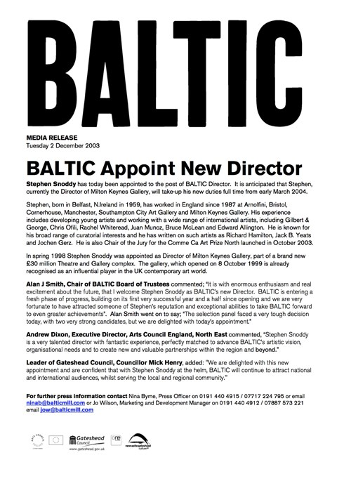 BALTIC Appoint New Director: Press Release