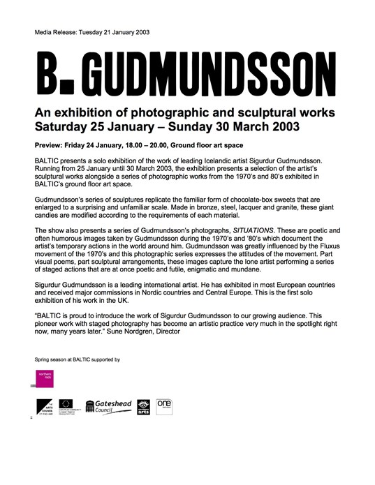 Sigurdur Gudmundsson: Press Release