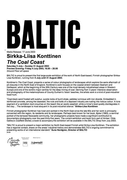 Sirkka-Liisa Konttinen: The Coal Coast: Press Release