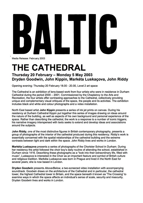 The Cathedral: Press Release