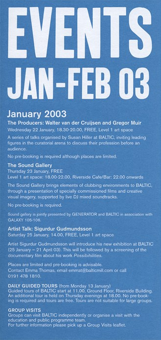 BALTIC Events Guide (03/01): January - February 2003