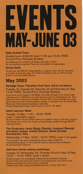 BALTIC Events Guide (03/05): May - June 2003