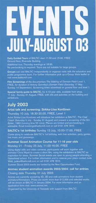BALTIC Events Guide (03/06): July - August 2003