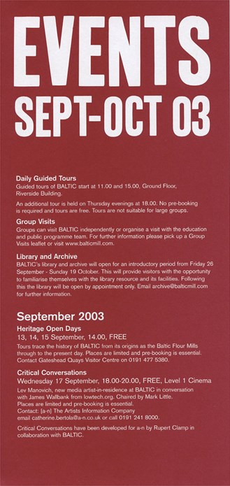 BALTIC Events Guide (03/07): September - October 2003