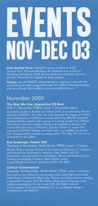 BALTIC Events Guide (03/08): November - December 2003