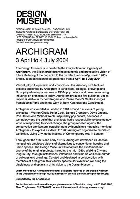Archigram Shortlead: Press Release from the Design Museum