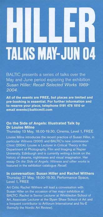 BALTIC Events Guide (04/03): Hiller Talks May - June 2004