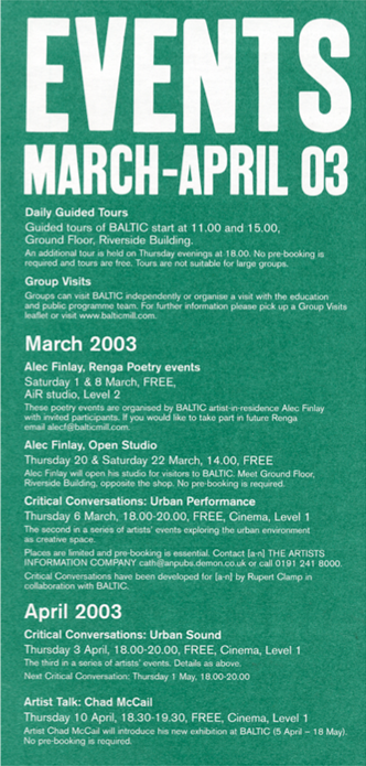 BALTIC Events Guide (03/04): March - April 2003