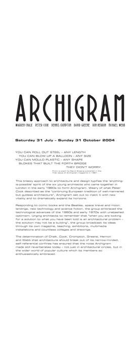 Archigram Text Panels & Credits