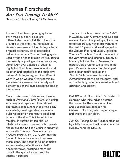Thomas Florschuetz: Gallery handout