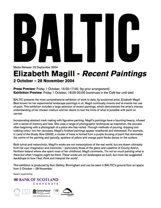 Elizabeth Magill Recent Paintings: BALTIC Press Release