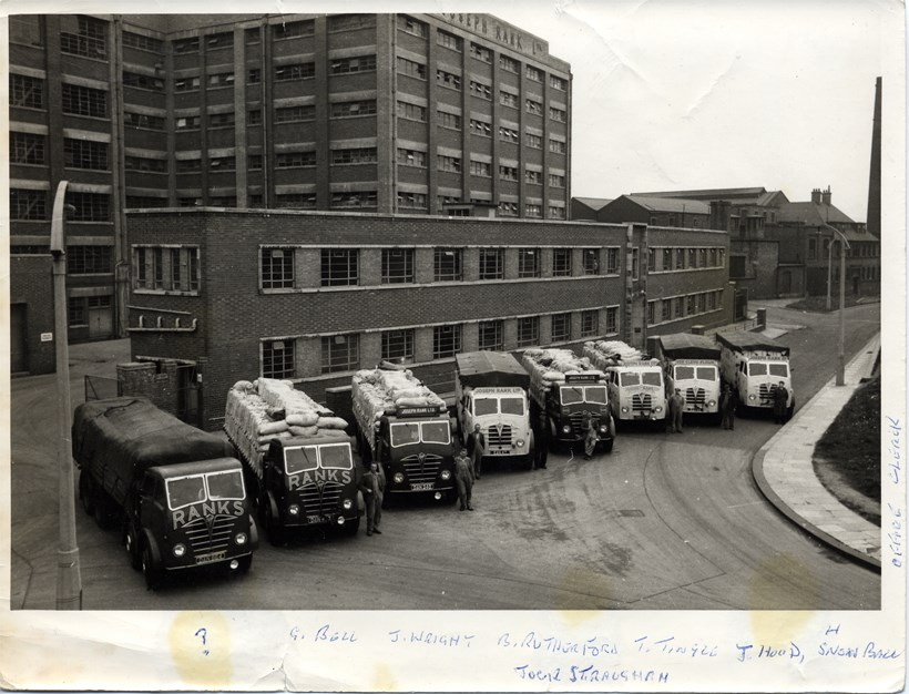 Joseph Rank Ltd lorries outside Baltic Flour Mills c.1950