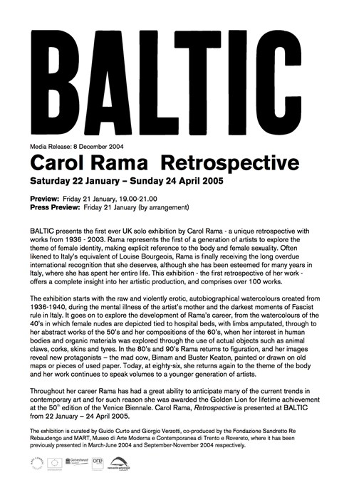 Carol Rama: Retrospective; Press Release